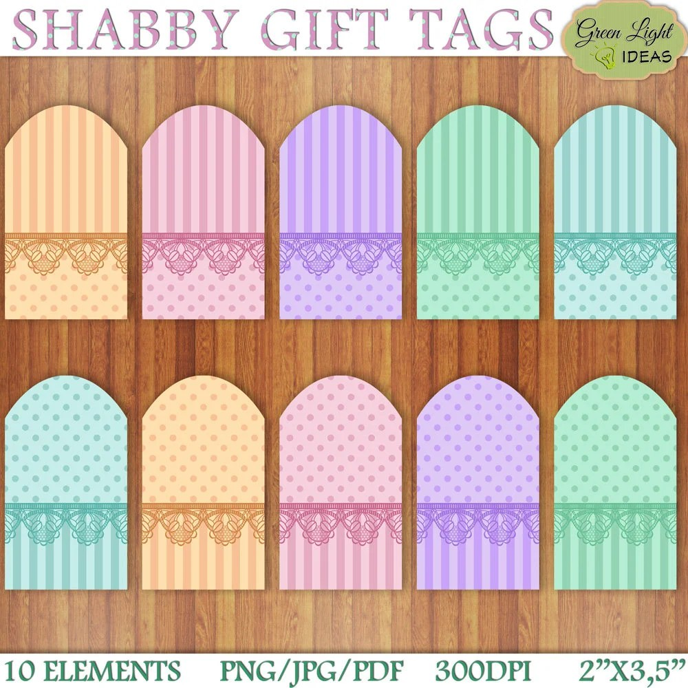 Shabby Digital Gift Tags Shabby Chic Printable Gift Tags Etsy
