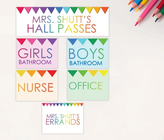 Student Hall Passes PRINTABLE CUSTOMIZED Girls Boys Nurse Etsy