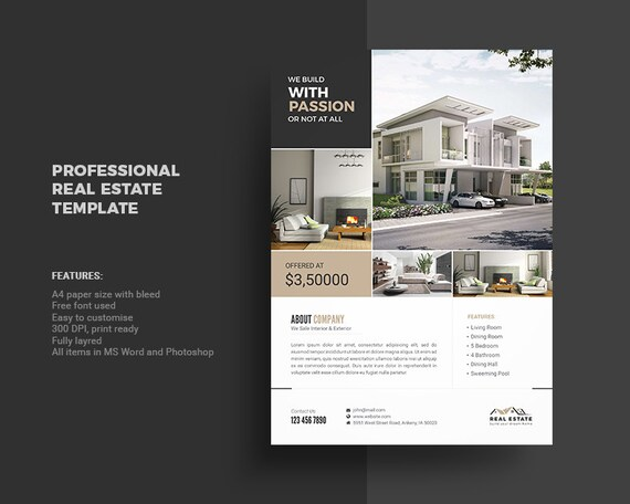 Real Estate Flyer Template Photoshop and MS Word Template Etsy