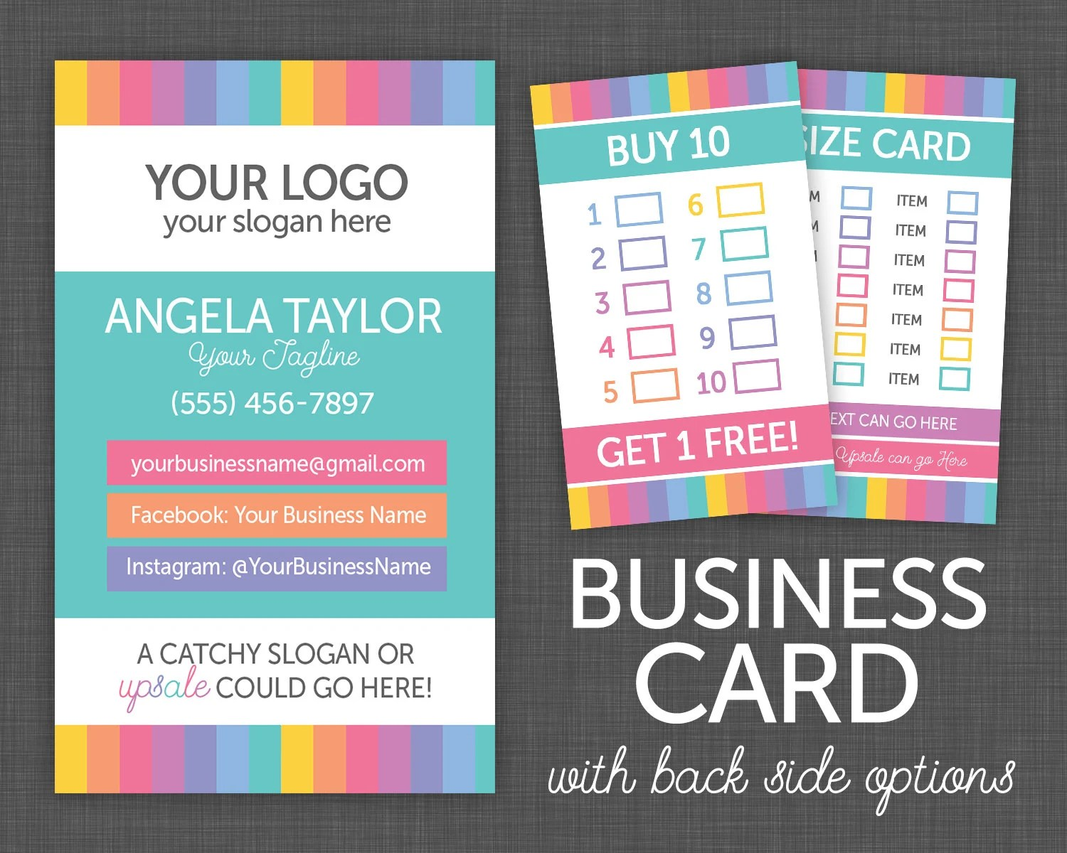 Business Cards My Size Card Punch Card My Size Card Etsy