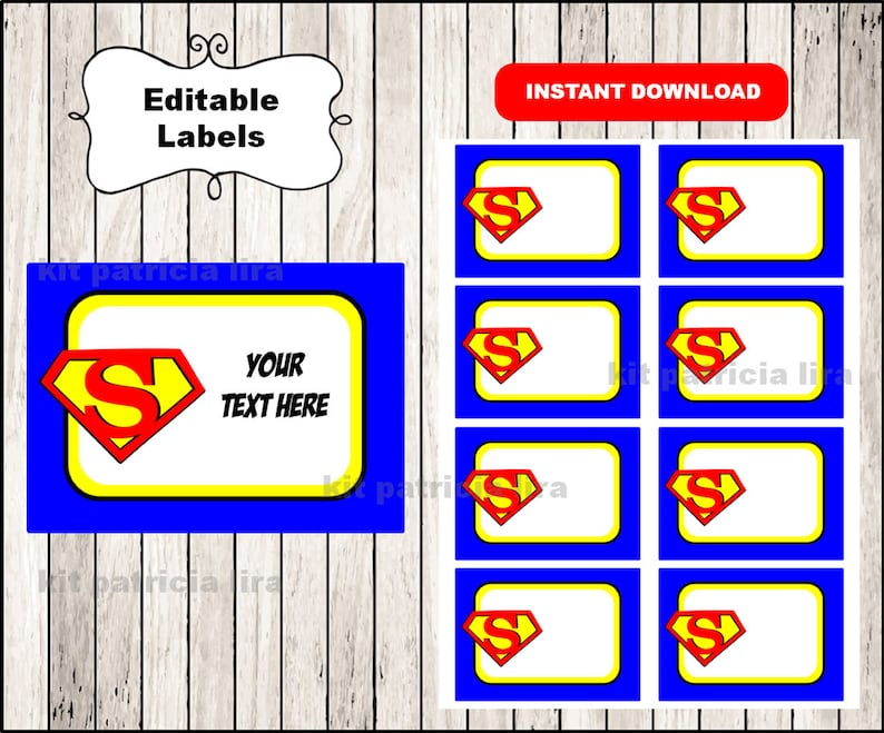 Superman logo Printable Cards tags book labels stickers Etsy