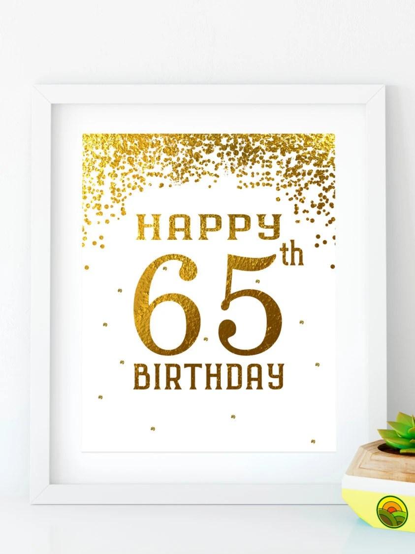 Happy Birthday 65 Printable 65th birthday decor 65th birthday Etsy