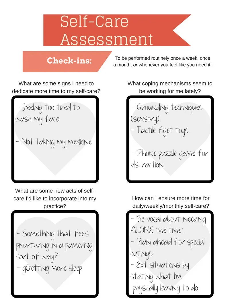 Self-Care Assessment Worksheet PRINTABLE INSTANT DOWNLOAD Etsy