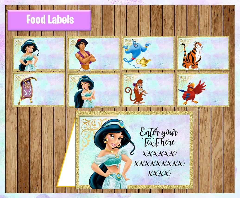 Princess Jasmine Food labels Printable Disney Princess Food Etsy