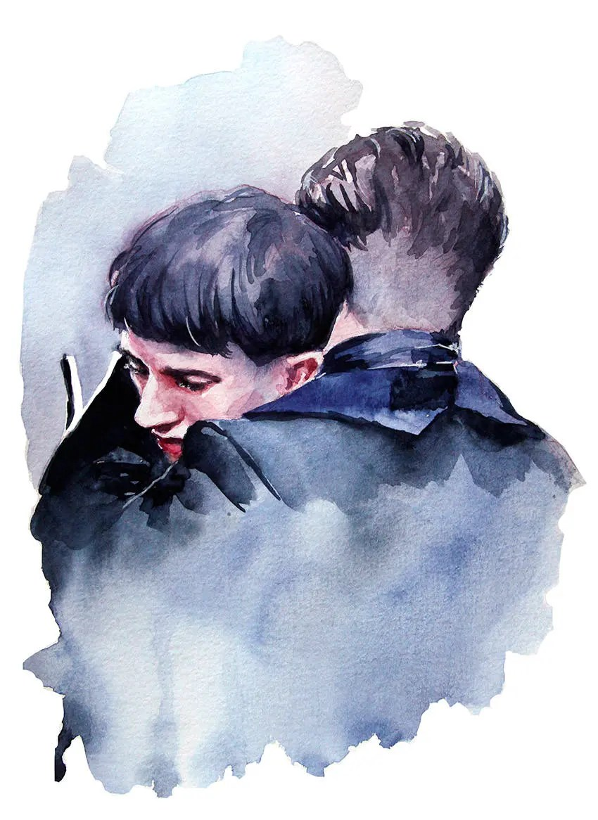 Wall Art Credence Colin Farrell And Ezra Miller As Credence Barebone And Percival Graves Embracing Each Other Watercolor Art Print