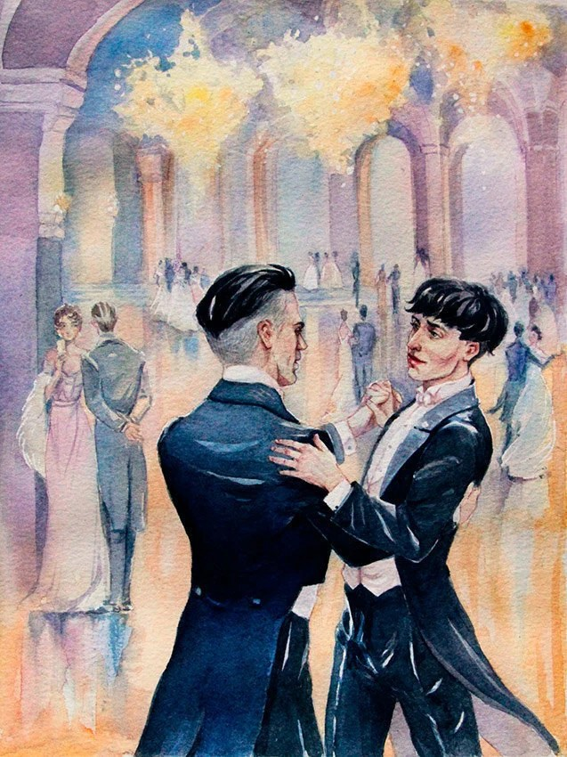Wall Art Credence Gay Dance Gay Couple Percival And Credence Watercolor Art Print Gift For Gay Two Men Dancing