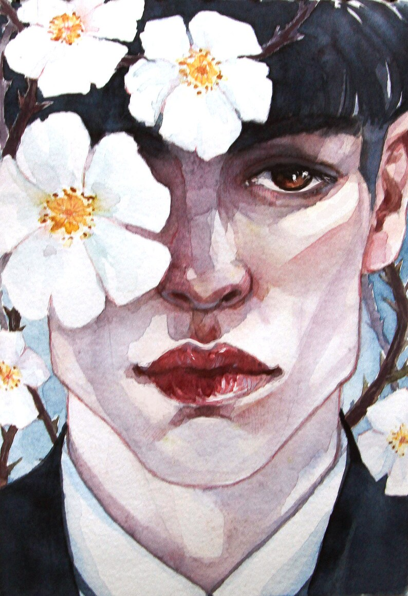 Wall Art Credence Ezra Miller As Credence Barebone With White Wild Roses Watercolor Art Print
