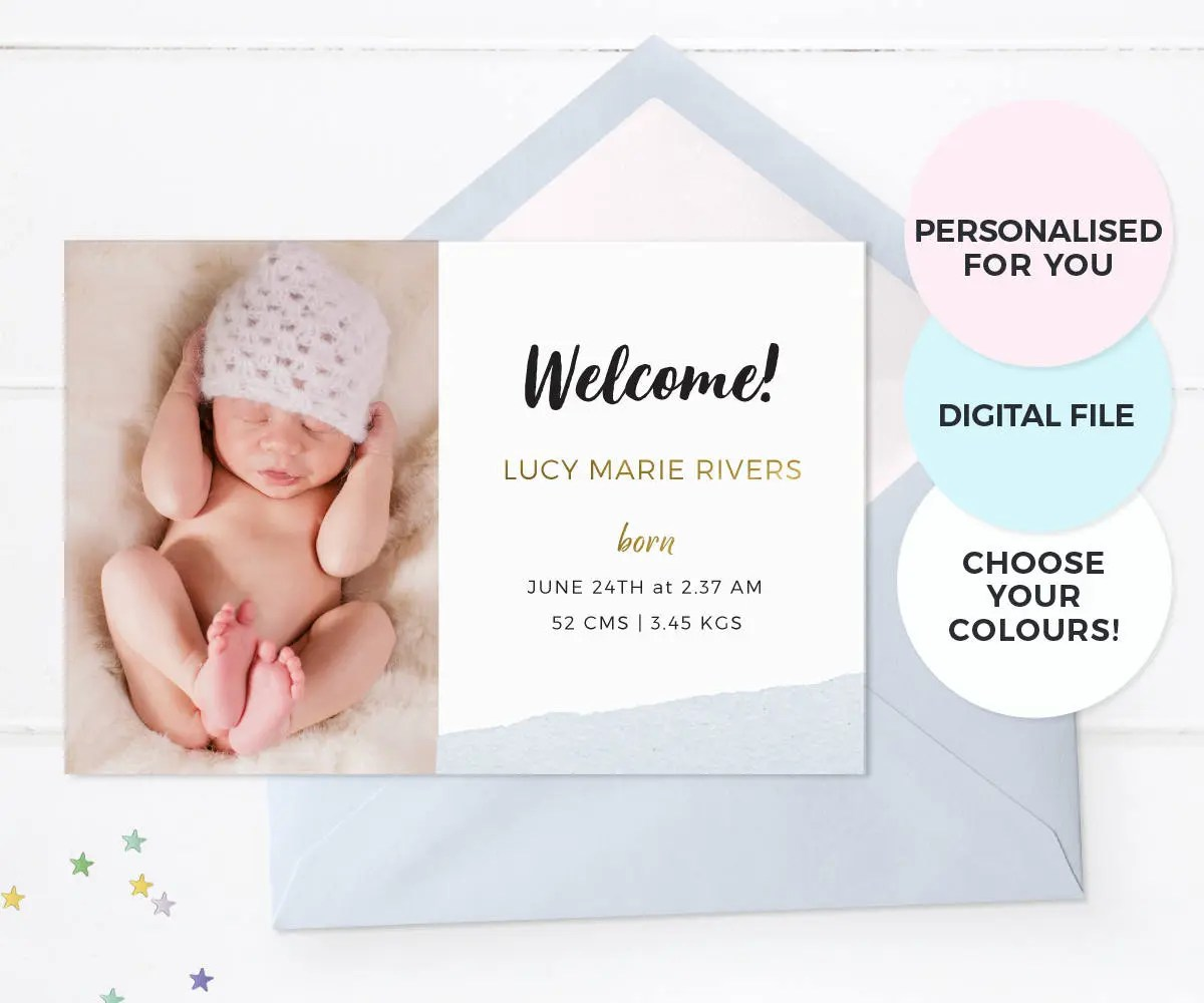 Baby announcement cards Boy birth announcement card Girl Etsy