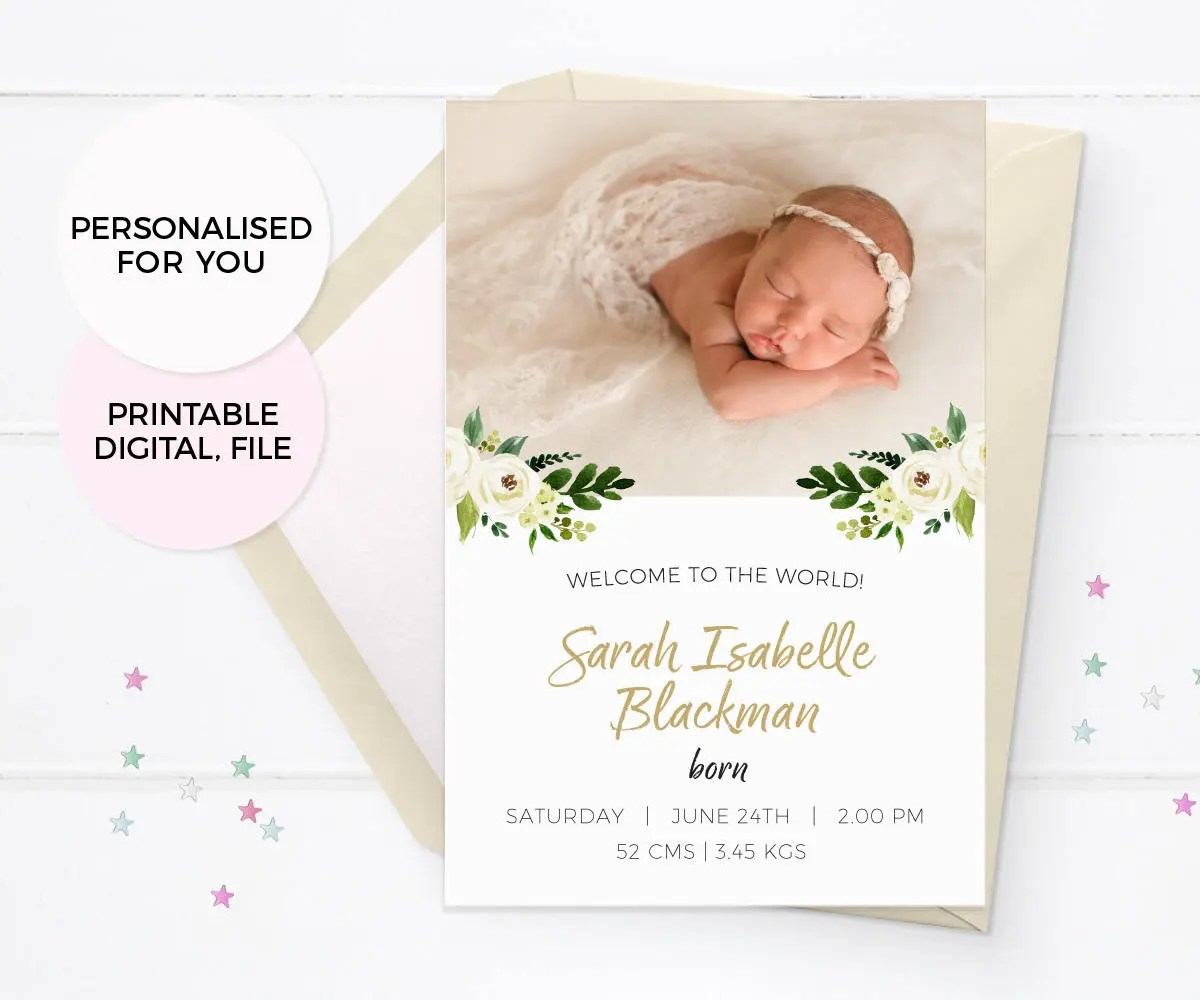 Floral Girl birth announcement card Baby announcement cards Etsy