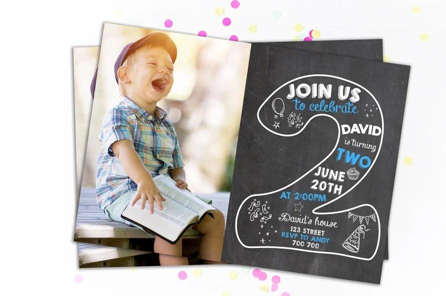 Second Birthday Invitation Boy Birthday Invitations 2nd Etsy