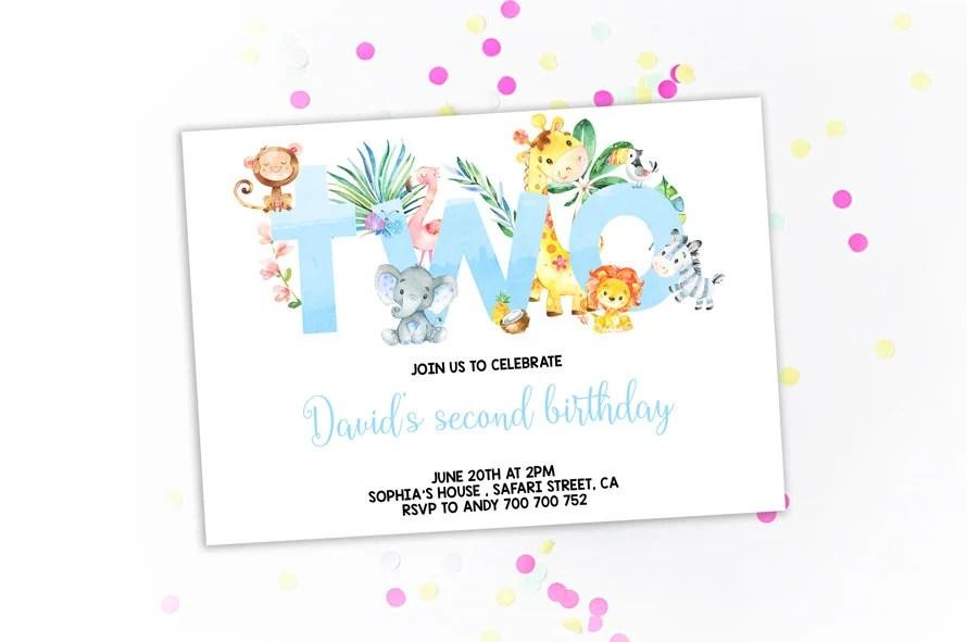 Jungle 2nd Birthday Invitation Boy Birthday Invitations Second Etsy