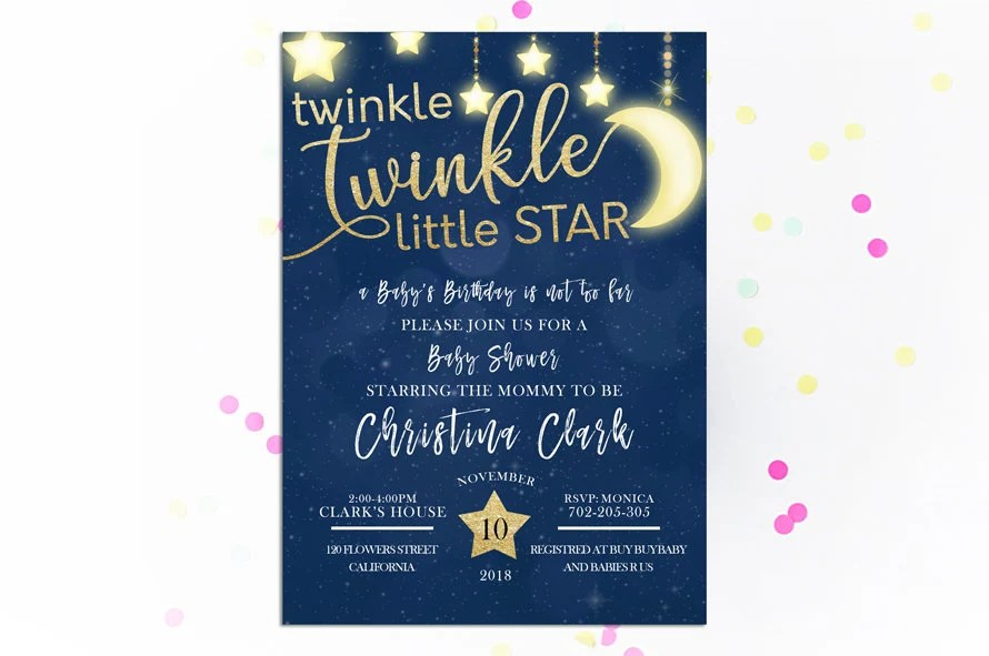 Moon and stars Baby shower invitation Twinkle Twinkle Little Etsy