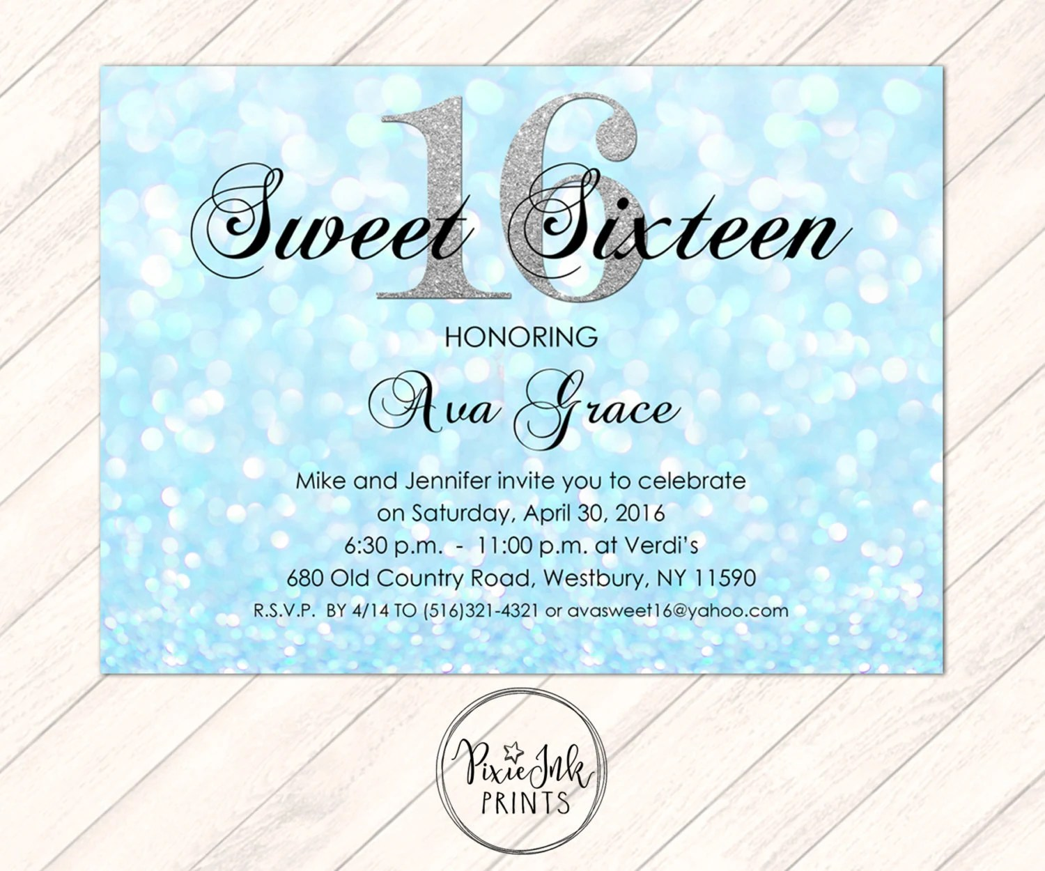 Blue Sparkle Sweet 16 Invitation Blue Sweet 16 Invite Etsy