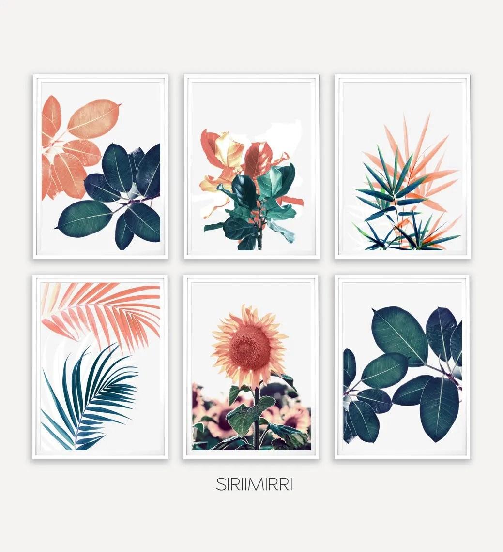 Set of 6 Tropical Leaf Print Set Fern Palm Sunflower Floral Etsy