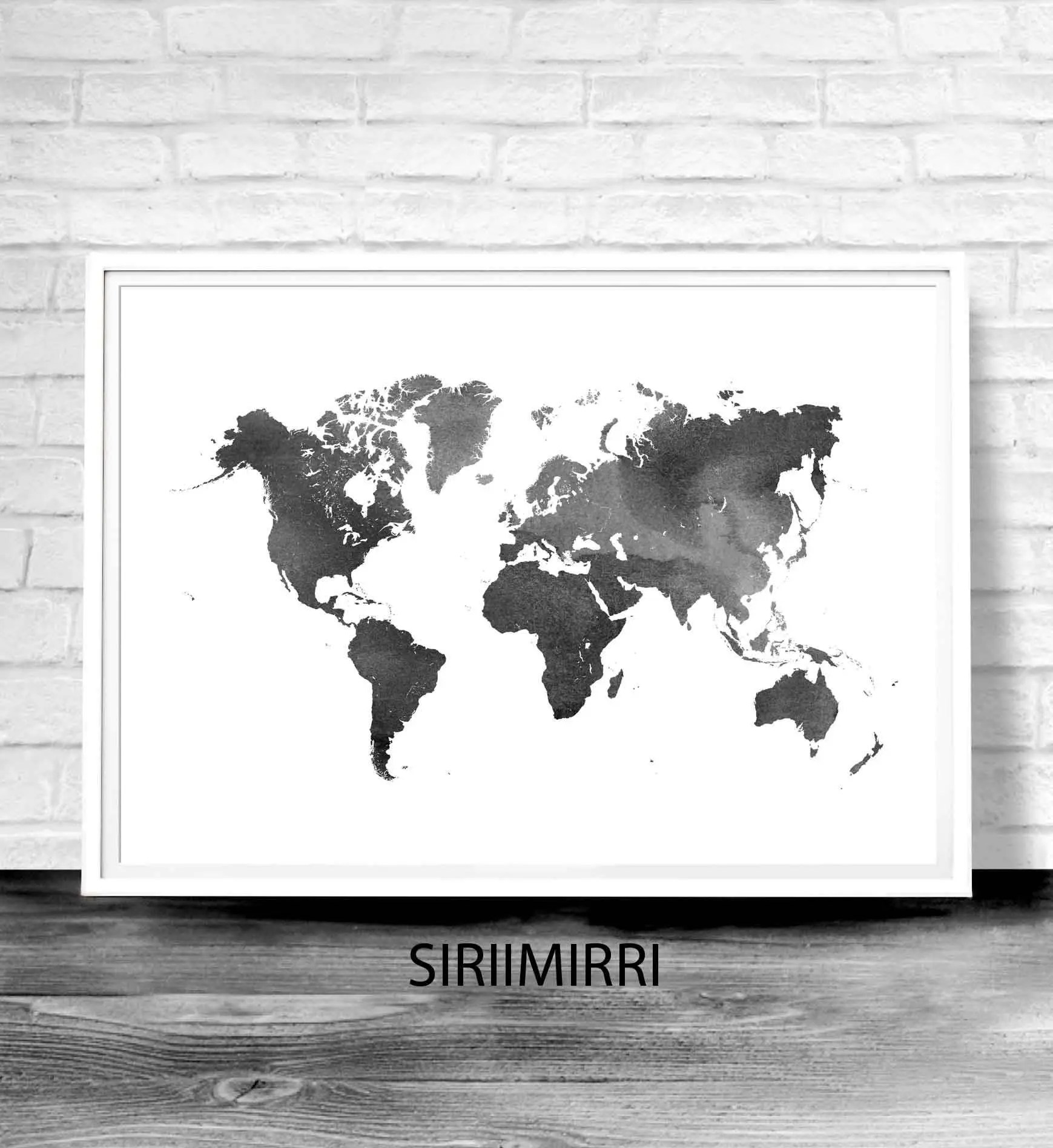 World Map Poster Water Color World Map World Map Print Black Etsy