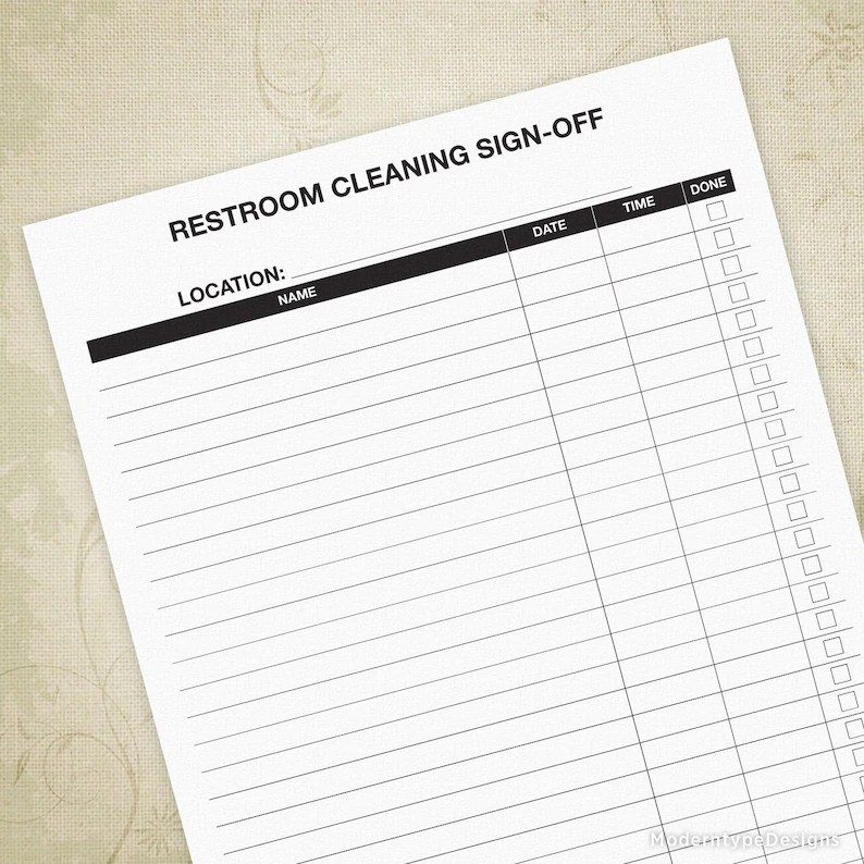 Restroom Cleaning Sign-off Sheet Bathroom Cleanup Schedule Etsy