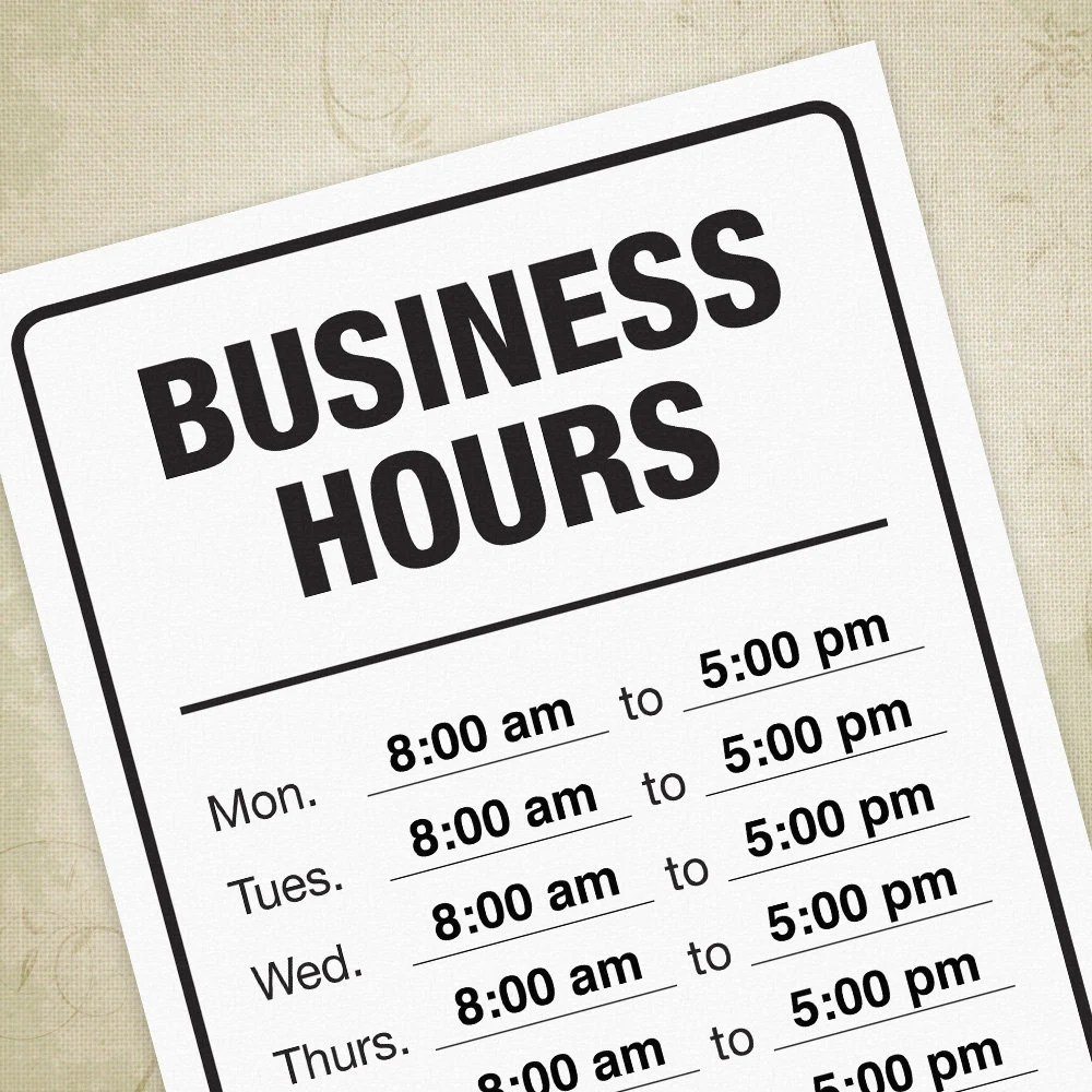 Business Hours Printable Sign Operation Professional Open Etsy