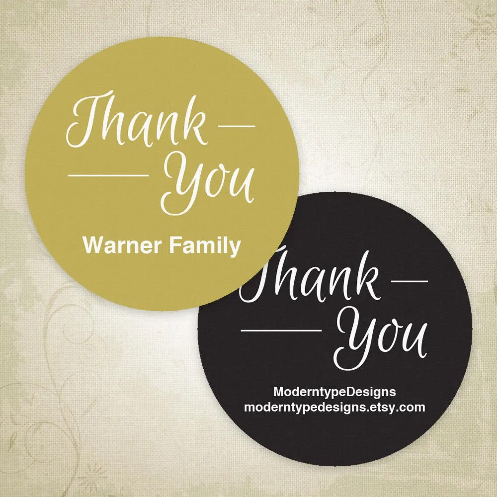Two Inch Thank You Labels Avery Printable 2 Circle Etsy