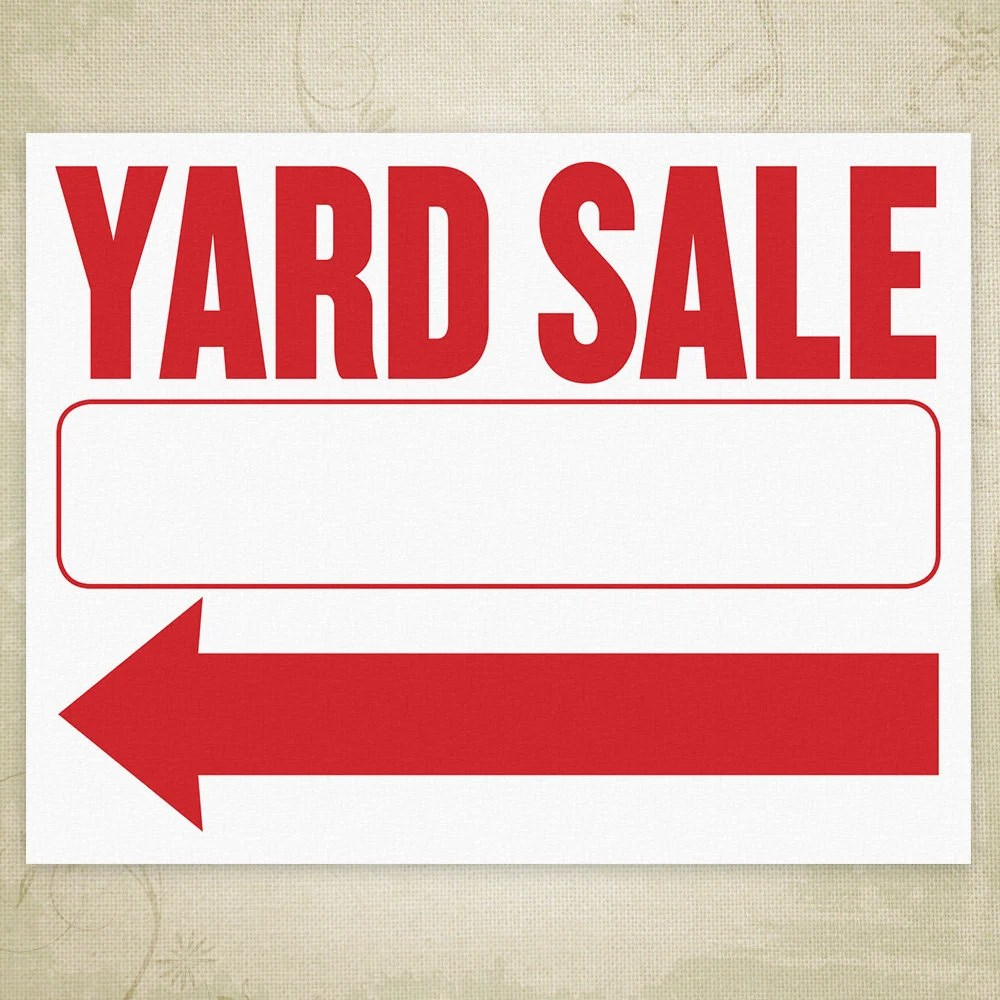 Yard Sale Flyer Printable Sign Left  Right Arrows Bright Etsy
