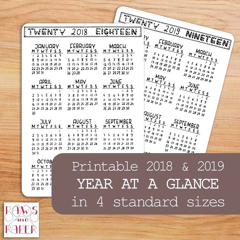 2018 2019 PRINTABLE Calendar Year At A Glance Planner Bullet Etsy