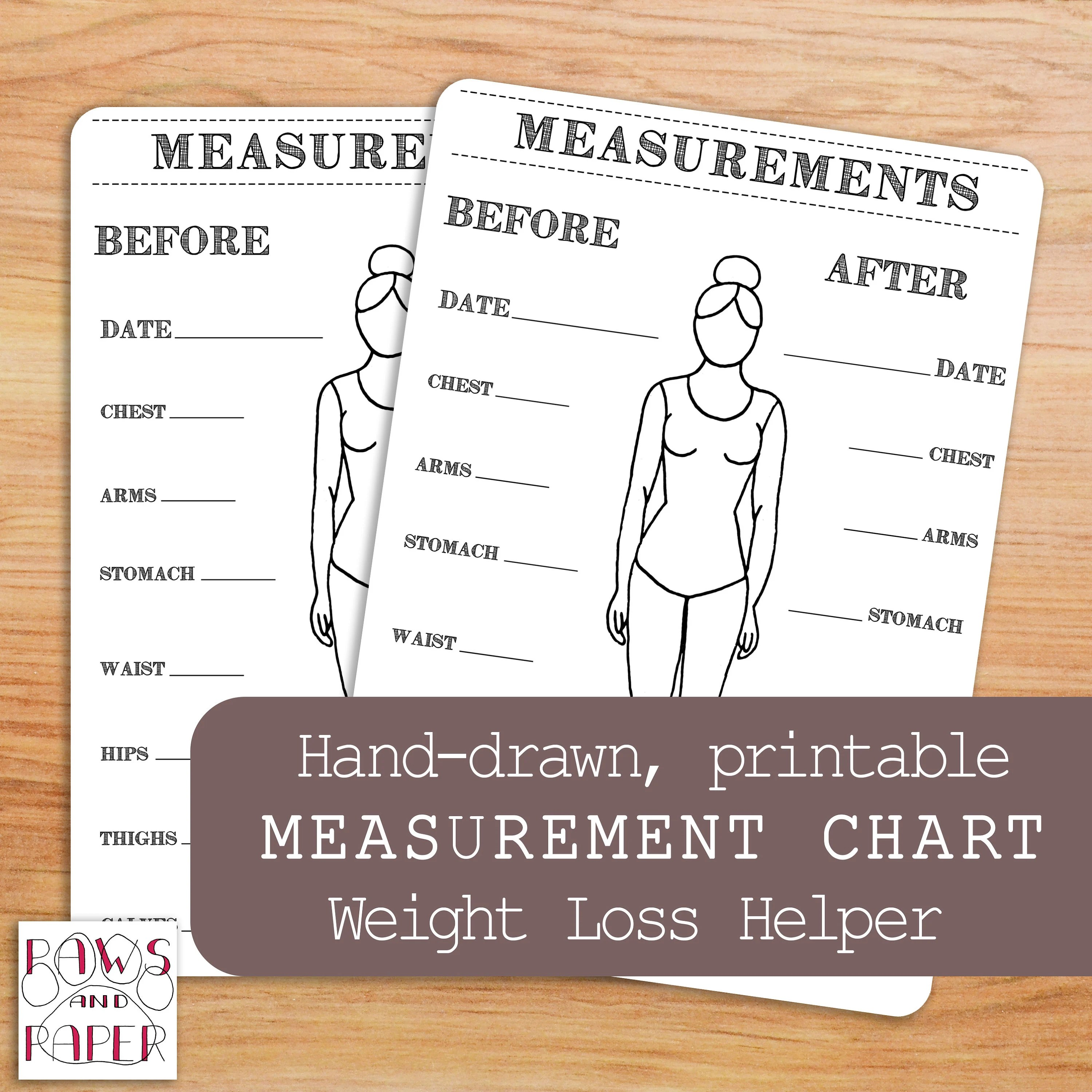 Printable Body Measurements Chart Bullet Journal Inches Lost Etsy