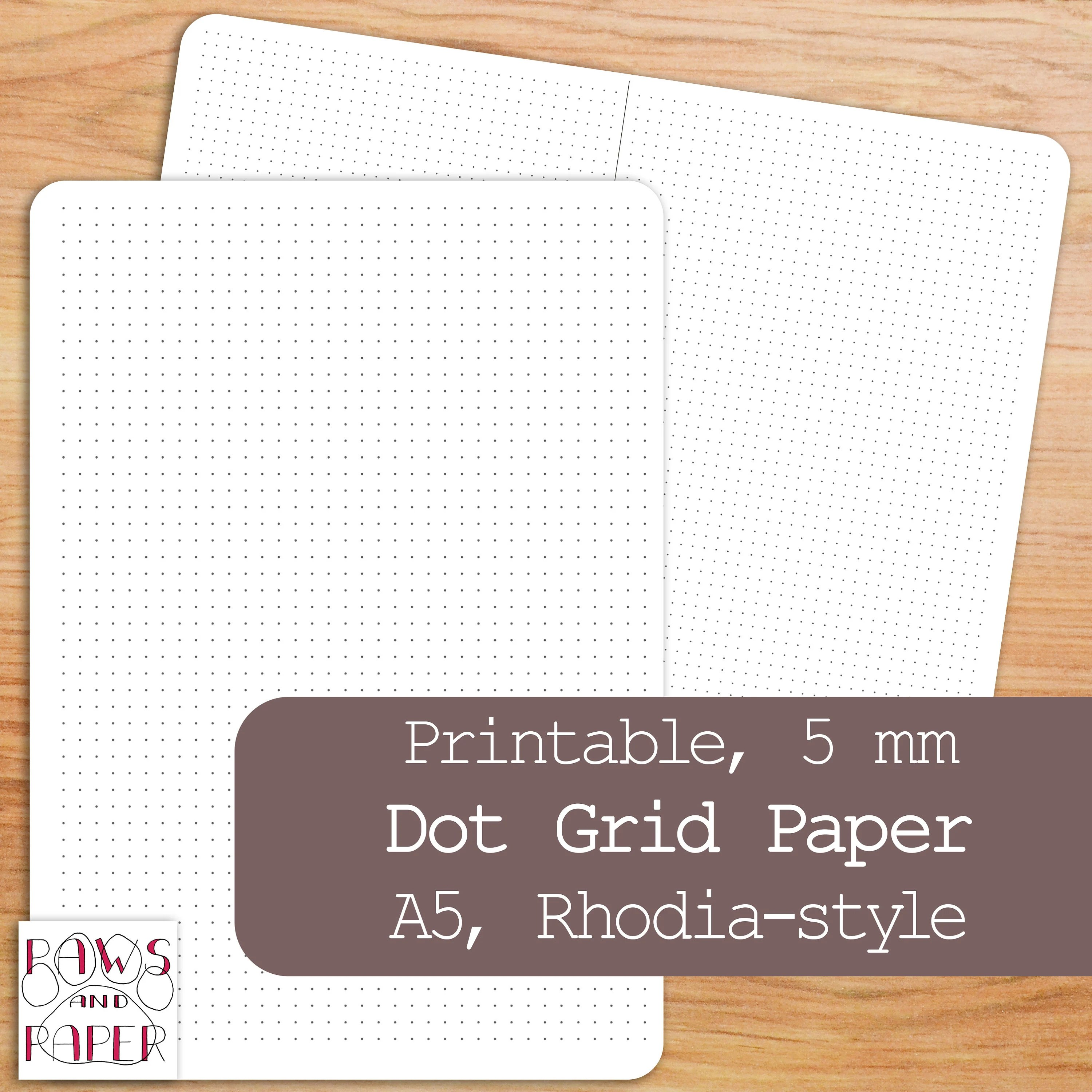 Printable Dot Grid Paper A5 Planner Insert Rhodia-Style 5mm Etsy
