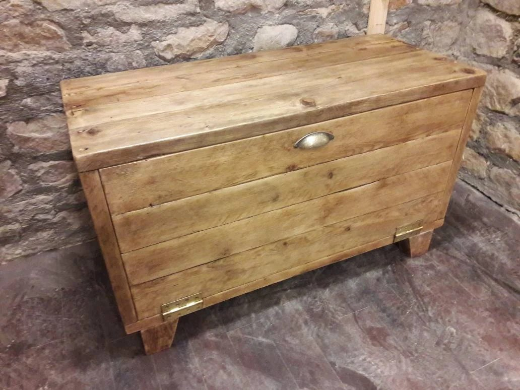 Wooden Storage Bench Hallway Storage Bench Wooden Unit Shelves Rustic