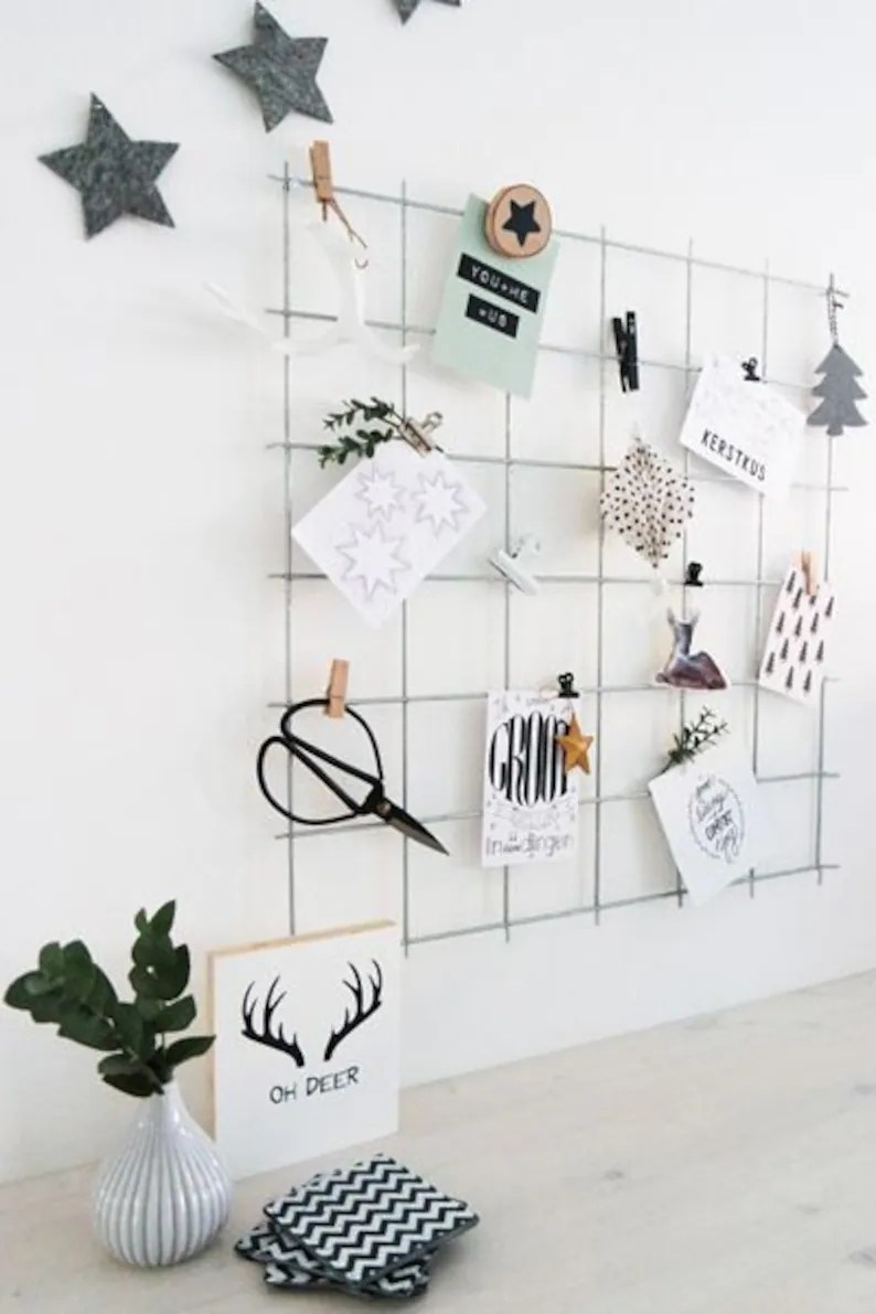 Wall Grid Gray Wire Wall Grid Free Clips Shelf Wire Mesh Memo Board Notice Metal Grid Noticeboard Moodboard