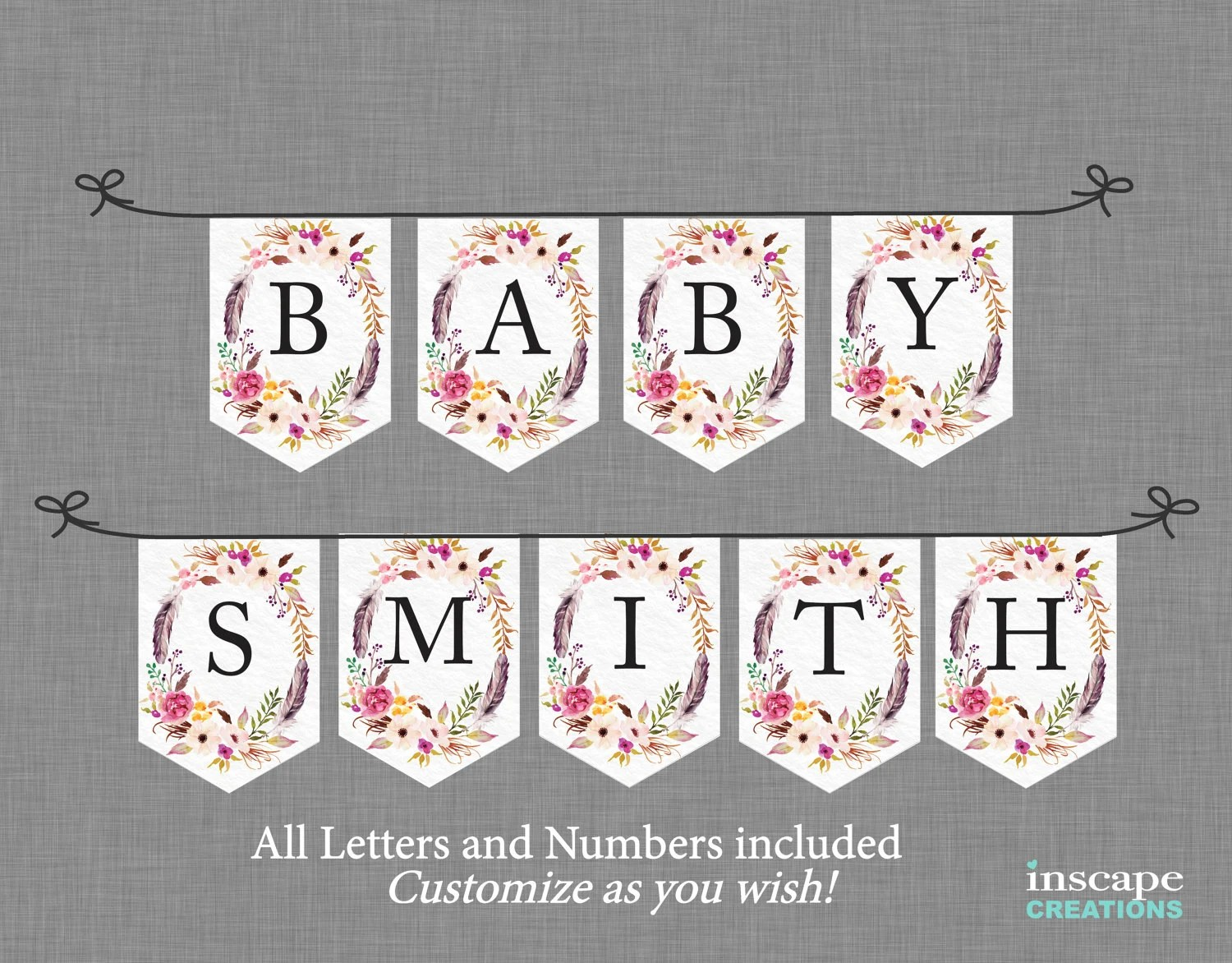 Boho Baby Shower Banner Printable ALL Letters  Numbers Etsy