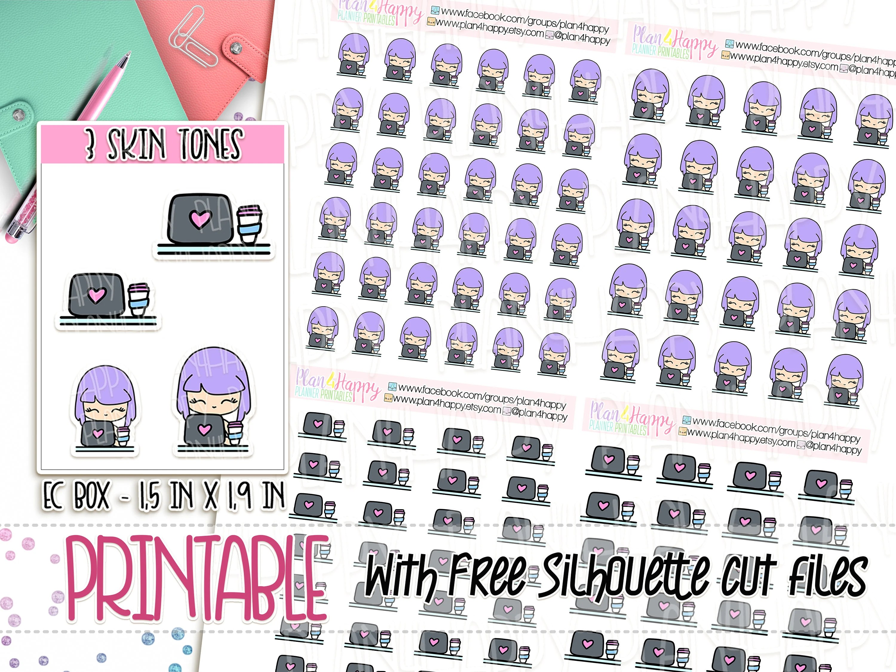 Printable Planner Stickers Piper 3 Skin Tones Laptop Etsy