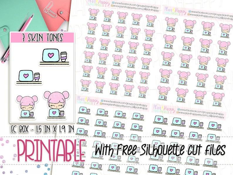 Printable Planner Stickers Rosie 3 Skin Tones Laptop Etsy
