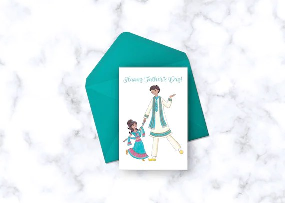 Indian Inspired Father\u0027s Day Card Father and Daughter Etsy