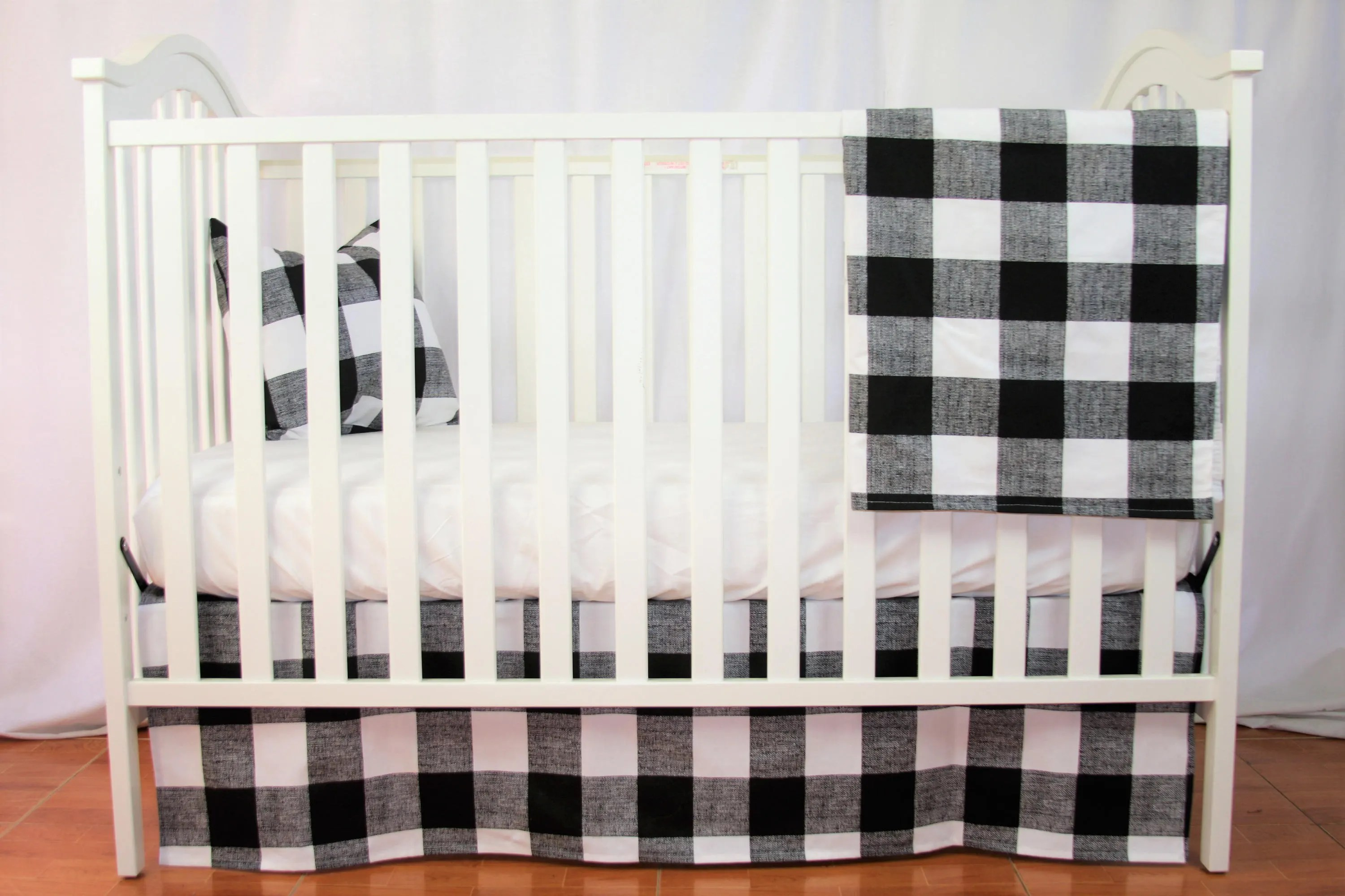Baby Cradle Sheets Bumperless Crib Bedding Set Buffalo Check White And Black Baby Bedding Black And White Crib Bedding White Baby Bedding Tailored Skirt