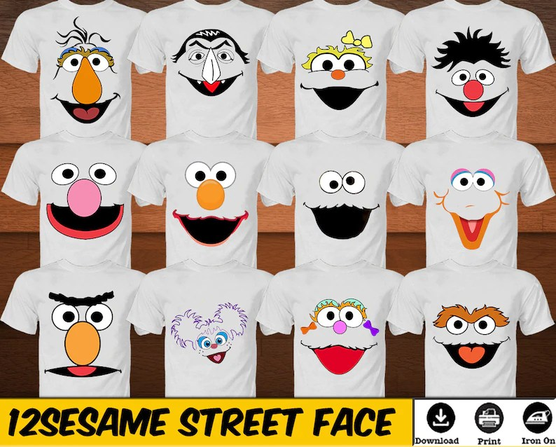 Sesame Street Iron on Shirt Birthday Party Sesame Street Faces Etsy