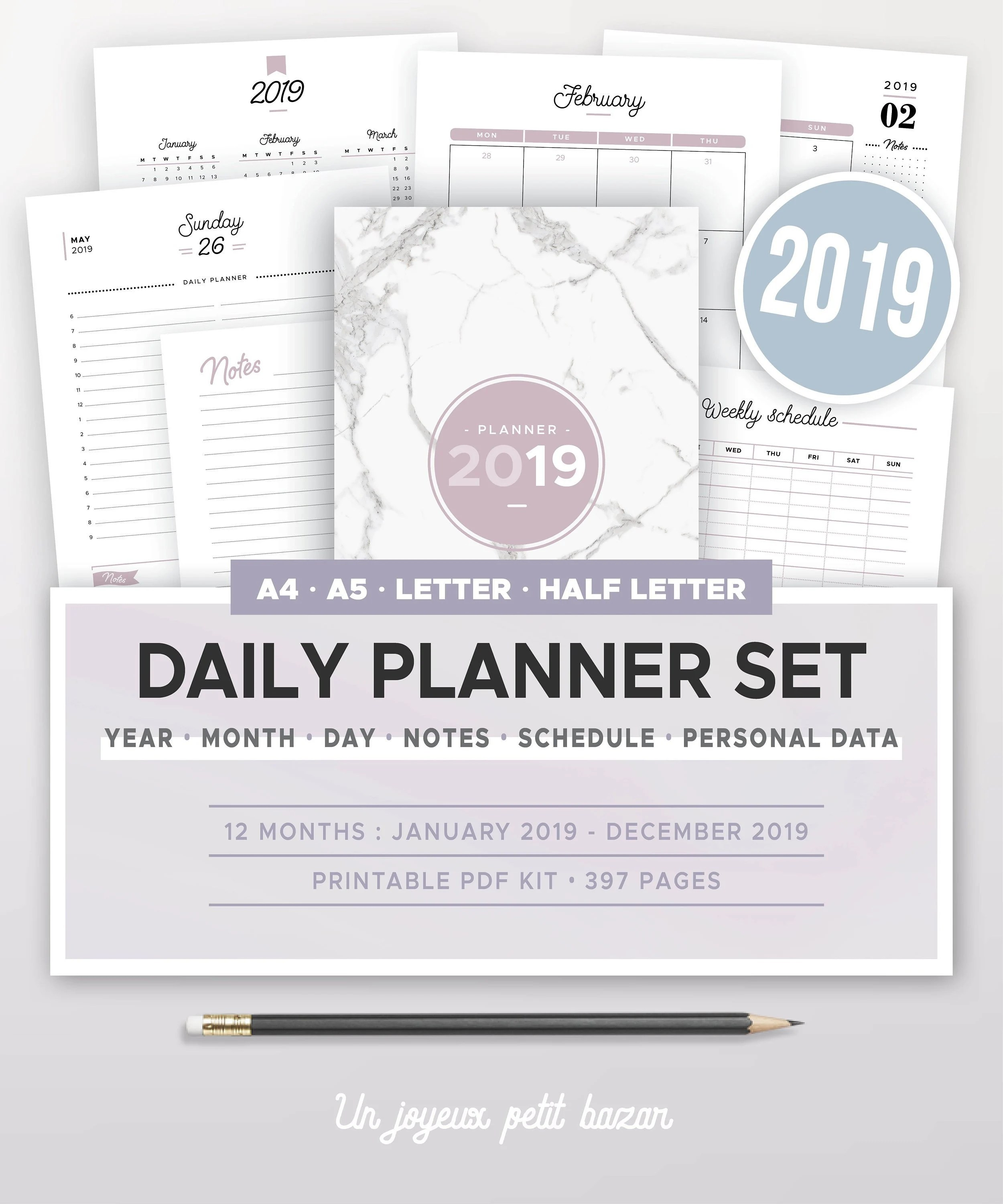 2019 DAILY PLANNER KIT printable yearly  monthly calendar Etsy