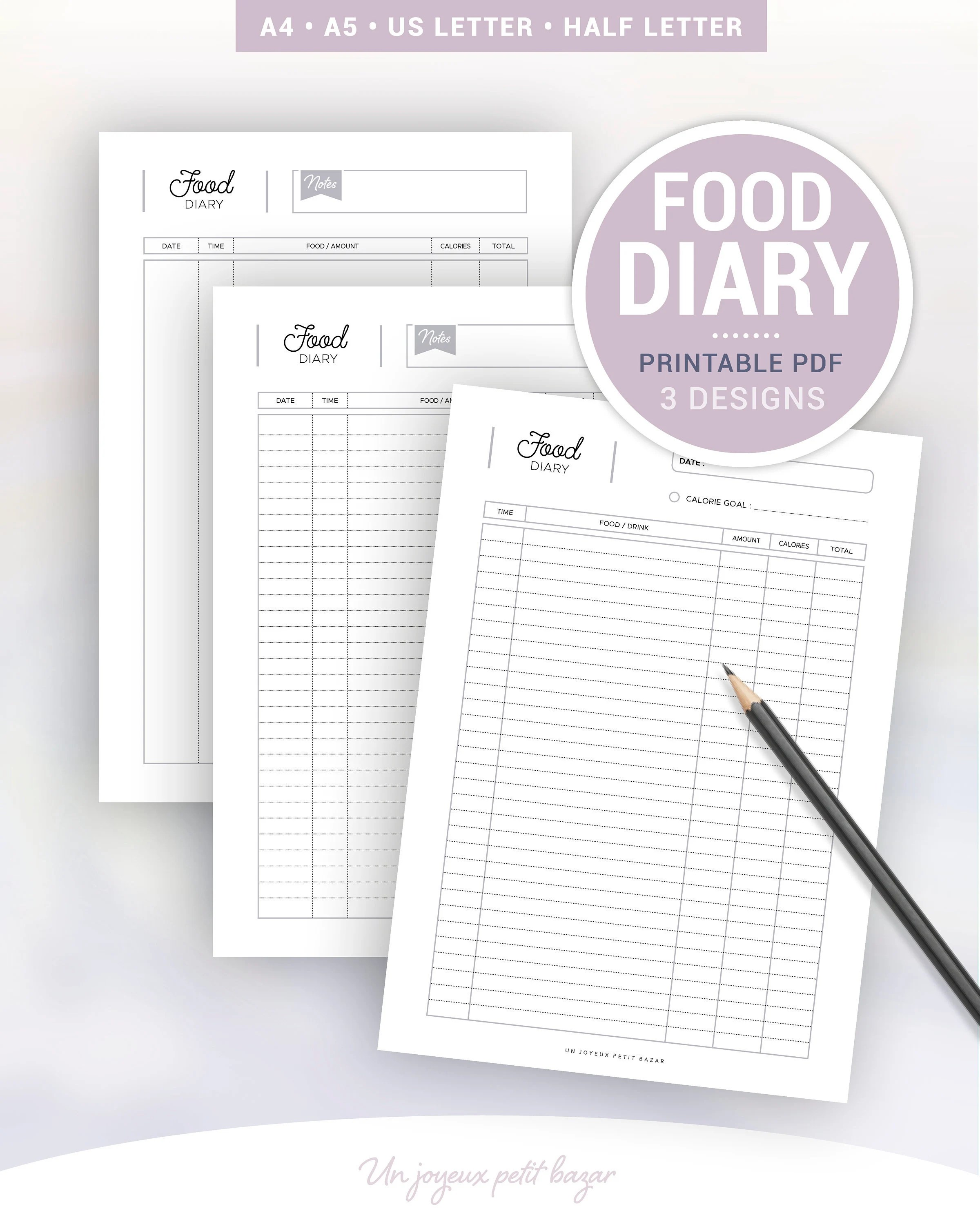 FOOD DIARY Printable Food journal Weight loss journal Etsy