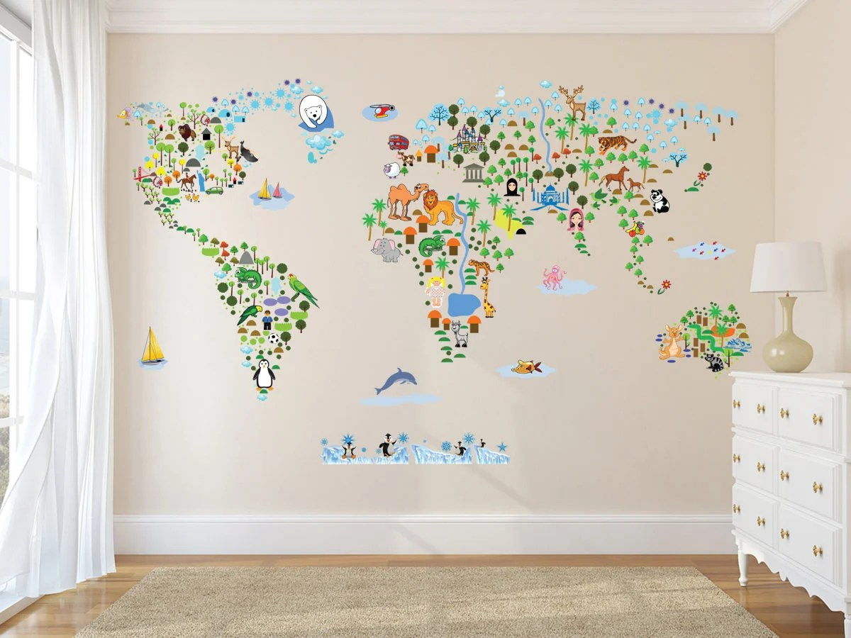 Carte Monde Murale Carte Monde Culturel Sticker Mural Autocollant De Décoration Faune Et Flore Nursery Room Decor Enfants Chambre Stickers Stickers Muraux