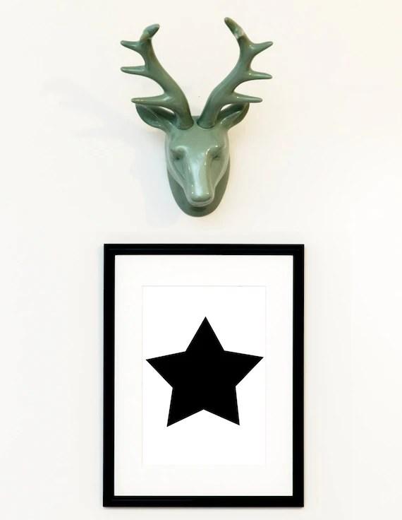 Star print Black Star Big star prints Playroom decor Etsy