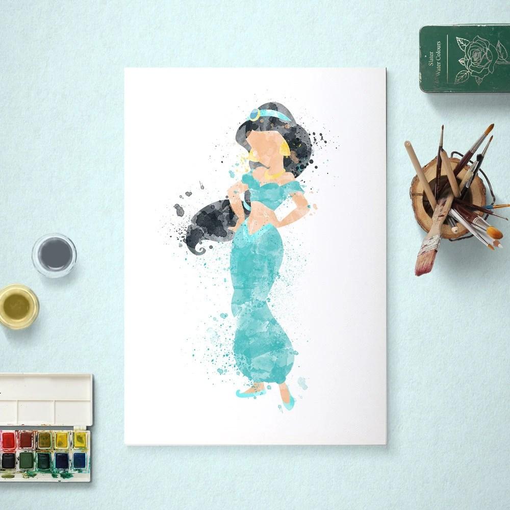 Jasmine, Disney Princess, Aladdin Poster, Watercolour Art, Printable