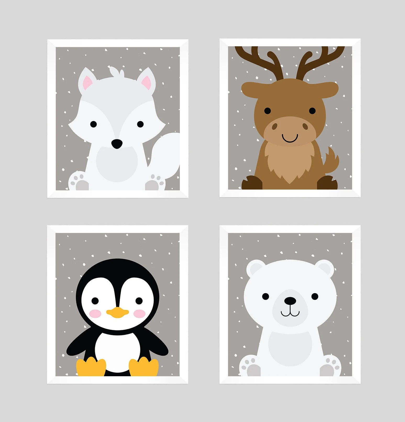 Arctic Animals Nursery Prints Nursery Wall Art Animal Etsy