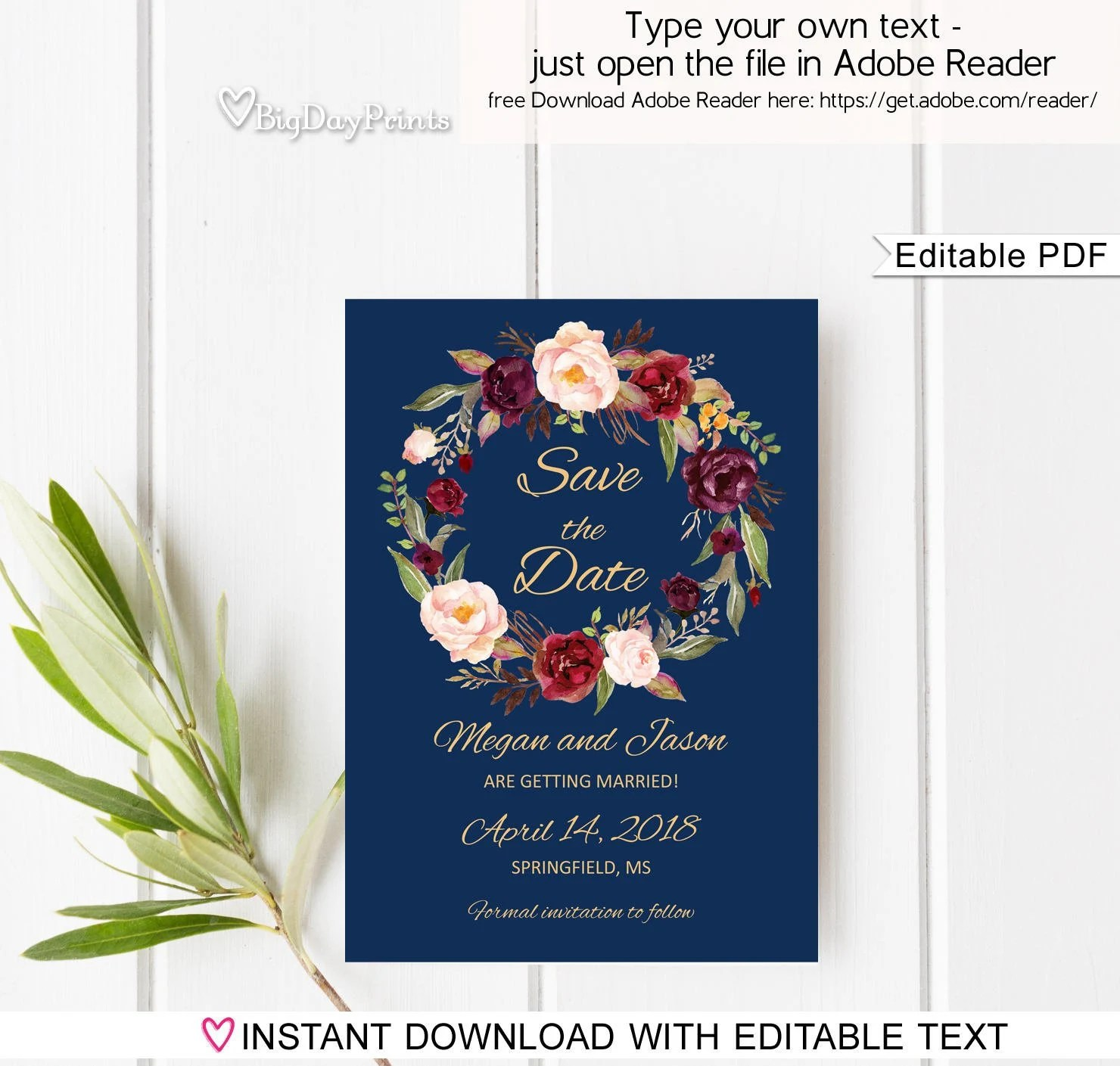 Save the Date Template Navy Floral Wedding Save the Date Etsy