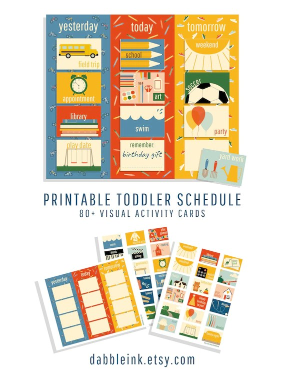 Toddler Schedule I Visual Calendar Cards I Yesterday Today Etsy