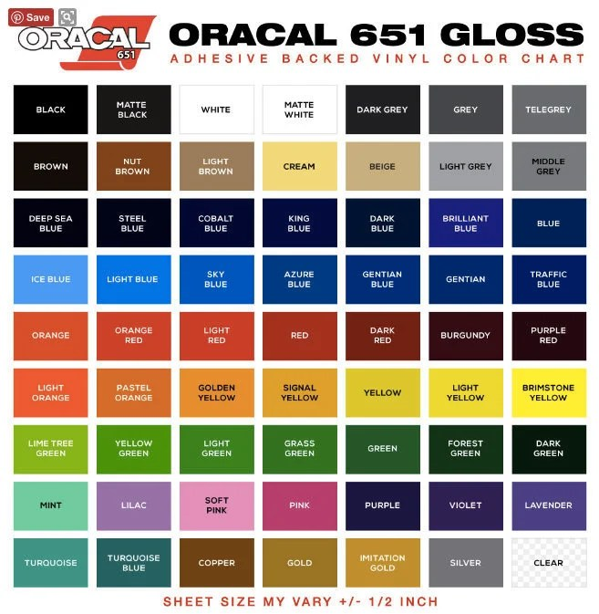 Oracal 651 outdoor Permanent Adhesive Vinyl Sheets or Rolls Etsy