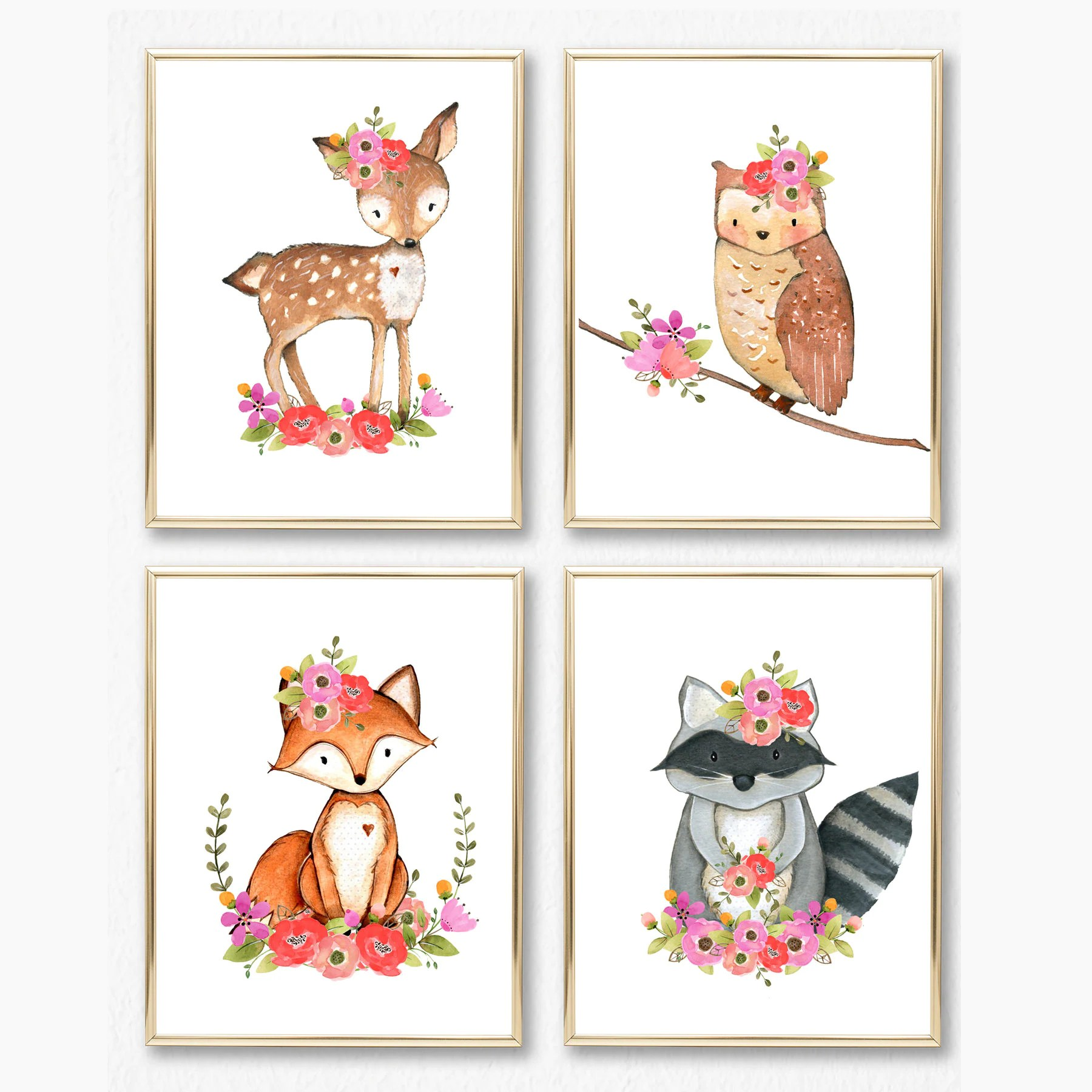 Nursery Prints Girl Girl Woodland Nursery Print Set Girl Wall Art Baby Girl Floral Woodland Animals Animal Wall Art Nursery Printable Fox Deer Owl Raccoon