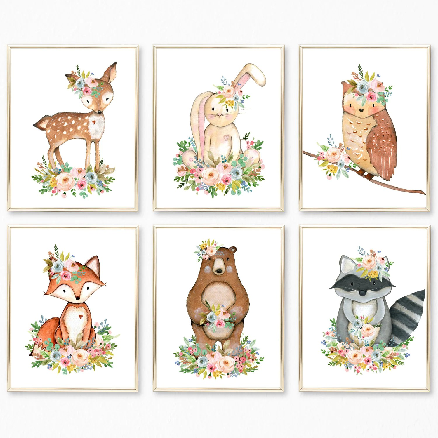 Nursery Prints Girl Set Of 6 Woodland Nursery Prints Nursery Decor Girl Woodland Nursery Woodland Nursery Decor Girl Watercolor Animal Prints Nursery Art