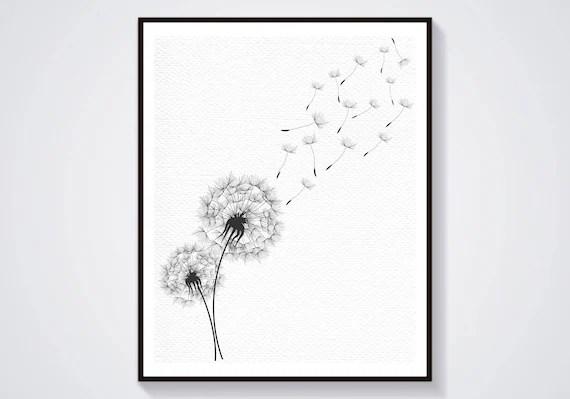 Dandelion art print Dandelion sympathy card Sympathy card Etsy