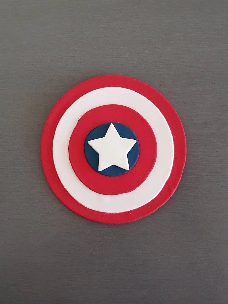 Captain America Kuchen 1 X Captain America Cake Topper Cake Größe Fondant Captain America Dekorationen Superhelden Party Essbaren Kapitän Deckel Superheld Topper