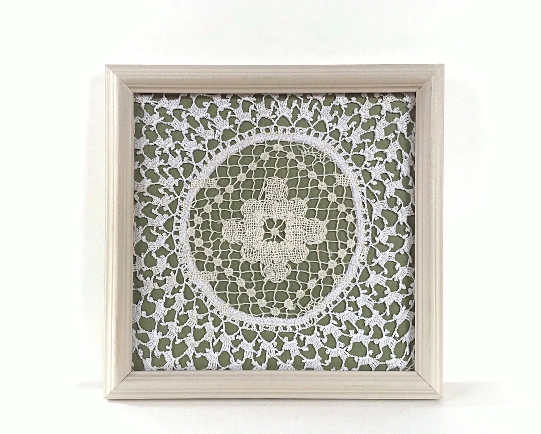 Olive Green Wall Decor Olive Green Wall Art Doily In A Frame Green Wall Decor White And Green Art Medallion Design Spring Green Decor Green Gallery Wall