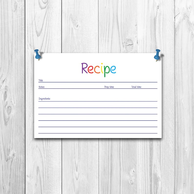 Recipe Cards Printable Recipe Cards Print Recipe Card Etsy
