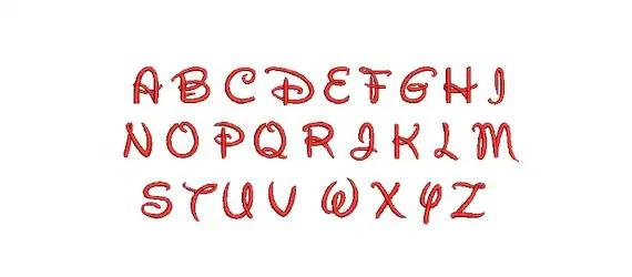 Walt Disney Font EMBROIDERY Design Alphabet Number Monogram Font